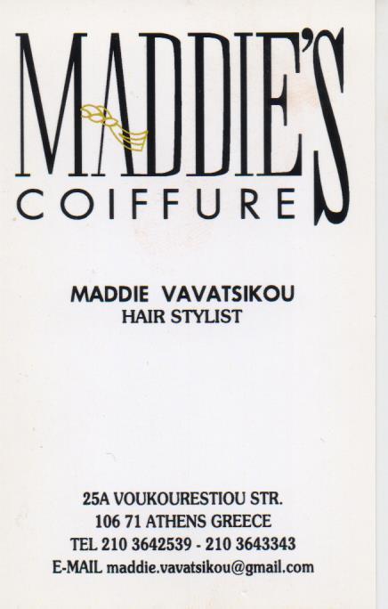 ΚΟΜΜΩΤΗΡΙΟ ΑΝΔΡΙΚΟ ΓΥΝΑΙΚΕΙΟ ΠΑΙΔΙΚΟ MADDIE'S COIFFURE ΚΟΛΩΝΑΚΙ ΑΤΤΙΚΗ ΒΑΒΑΤΣΙΚΟΥ ΜΑΓΔΑΛΗΝΗ